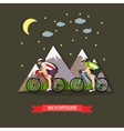 Cycling in the mountains flat design vector image