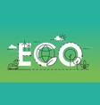 eco world lettering composition flat vector image vector image