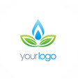 ecology green leaf water drop logo vector image vector image
