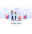 family spend time together walking with stroller vector image