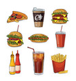 fast food and deserts collection vector image