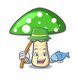 fishing green amanita mushroom mascot cartoon vector image