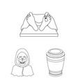 funeral ceremony outline icons in set collection vector image vector image