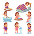 girl daily activities children life morning vector image