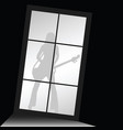 girl figure silhouette with guitar front of window vector image vector image