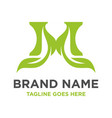 green leaf logo initials m vector image vector image