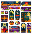 halloween night trick or treat celebration tag vector image vector image