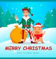handsome santa claus helper elf vector image vector image