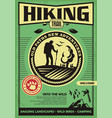 hiking trail promotional retro poster design vector image