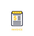 invoice icon on white vector image