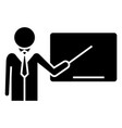 lecturer - presentation with pointer icon vector image vector image