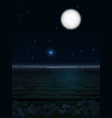 night landscape with moon and starfall vector image
