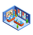 office isometric cross-section vector image vector image