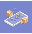 Online delivery tracking concept isometric icon vector image vector image
