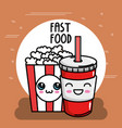 pop corn with soda kawaii character vector image vector image