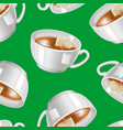 realistic detailed 3d white tea cup seamless vector image vector image
