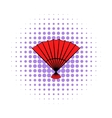 Red open hand fan icon comics style vector image vector image