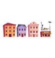 retro buildings town or city vintage houses set vector image vector image