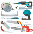 saw sawing equipment hand-saw hacksaw vector image
