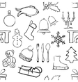 seamless doodle christmas pattern vector image