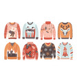 set ugly christmas sweaters or jumpers isolated vector image vector image