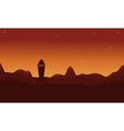 Silhouette of rocket on desert oueter space vector image