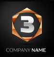 silver number three logo symbol in golden hexagona vector image vector image