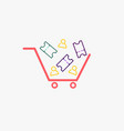 simple cart with ticket and person icons cart vector image vector image