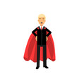 successful man in red superhero cape standing with vector image vector image