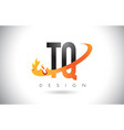 tq t q letter logo with fire flames design and vector image vector image