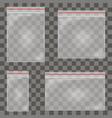 transparent plastic zipper bag set vector image