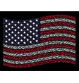 waving united states flag stylization of firewood vector image vector image