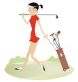 Woman golfer on the golf course