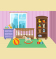 cartoon childrens room interior with kid toys vector image