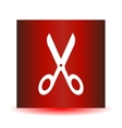 Icon Scissors on a red background vector image