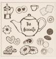 tea with biscuits vector image