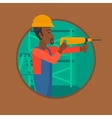 Worker with hammer drill vector image