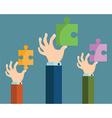 A hand puts proper puzzle Businessman assembling vector image vector image
