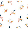 abstract seamless pattern with colorful seagulls vector image
