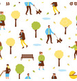 autumn park pattern with people vector image vector image