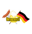 Beer mug and flag of Germany - symbol Oktoberfest vector image