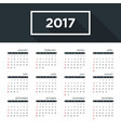 calendar 2017 for a year simple flat design vector image vector image