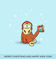 Cartoon of monkey with New Years gifts vector image