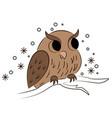 cartoon owl sitting on branch vector image vector image