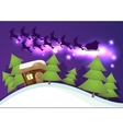 Christmas greeting card with Santa house Flying vector image