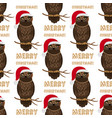 christmas owl with santa hat seamless pattern vector image vector image