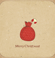 Christmas retro postcard with gift bag vector | Price: 3 Credits (USD $3)