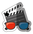 colorful sticker with clapperboard cinema and 3d vector image vector image