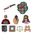 crime set icons in cartoon style big collection vector image vector image