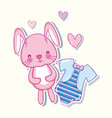 cute bunny and shirt hearts cartoons vector image